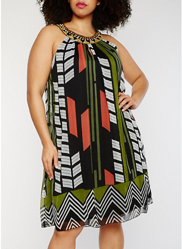 Plus Size Printed Chiffon Dress with Jewel Collar,RUST,large
