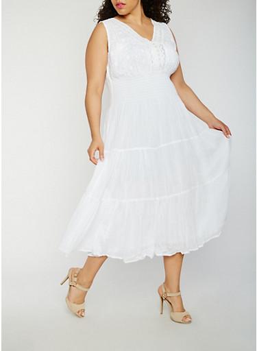 Plus Size Smocked Waist Maxi Dress,WHITE,large