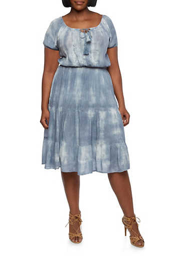 Plus Size Tie-Dye Dress with Embroidered Bust,BLUE,large
