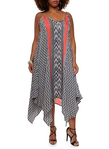Plus Size Dress with Handkerchief Hem,BLACK/CORAL,large