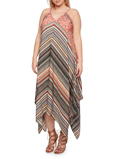 Plus Size Chevron Dress with Handkerchief Hem,CORAL,large