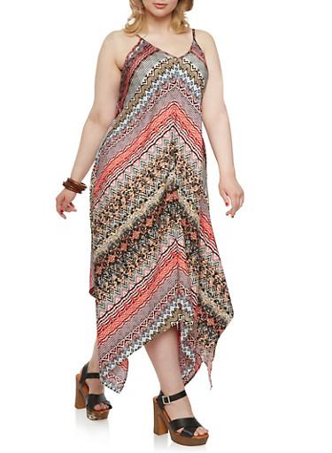 Plus Size Dashiki Print Cami Dress with Shark Bite Hem,CORAL/BLACK,large