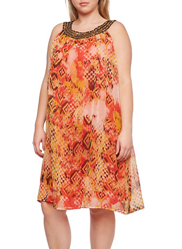 Plus Size Dress with Embellished Scoop Neck,BEIGE,large