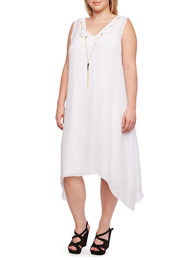 Plus Size Dress with Chain Accent and Sharkbite Hem,WHITE,large