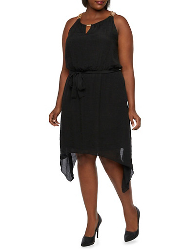 Plus Size Chain Embellished Dress with Sharkbite Hem,BLACK,large