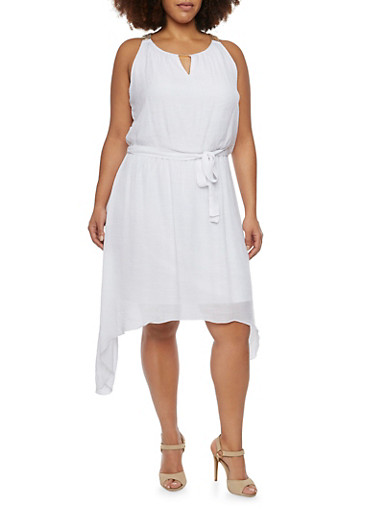 Plus Size Chain Embellished Dress with Sharkbite Hem,WHITE,large