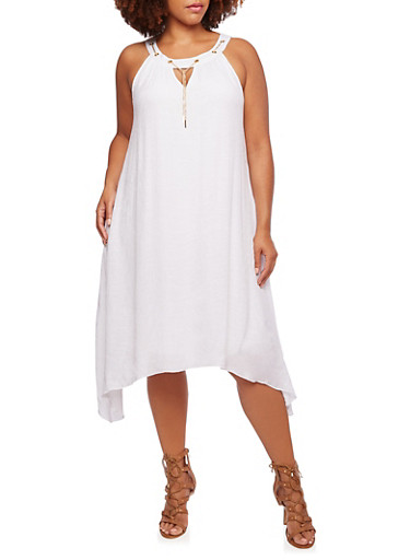 Plus Size Dress with Chain Trim at Scoop Neck,WHITE,large