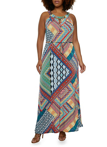 Plus Size Maxi Dress with Curb Chain Scoop Neck,BLUE,large