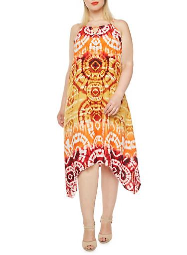 Plus Size Printed Dress with Asymmetrical Hem,RUST,large