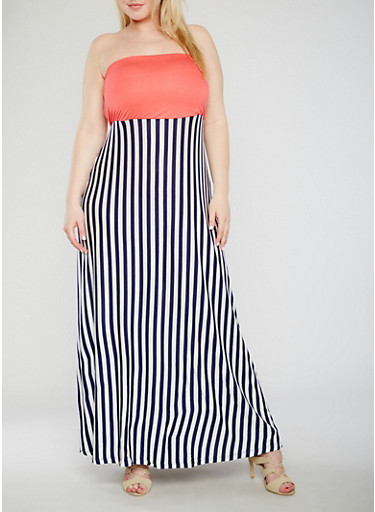 Plus Size Strapless Striped Maxi Dress,CORAL/NAVY,large