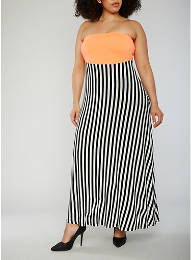 Plus Size Strapless Striped Maxi Dress,NEON CORAL/BLK,large