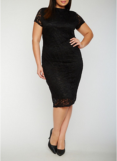 Plus Size Funnel Neck Lace Dress,BLACK,large