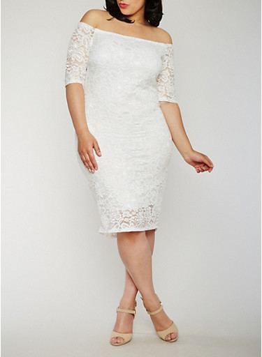 Plus Size Off the Shoulder Lace Midi Dress,OFF WHITE,large