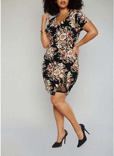 Plus Size V Neck Floral Dress with Faux Wrap Lace Detail,BLACK-ROSE,large