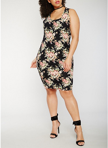 Plus Size Soft Knit Floral Tank Dress,BLACK/DUSTY ROSE,large