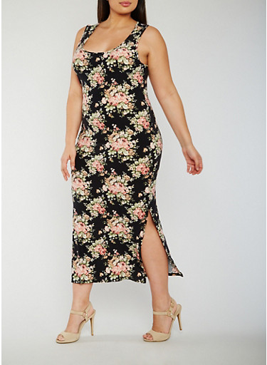 Plus Size Floral Maxi Dress with Side Slits,BLACK,large