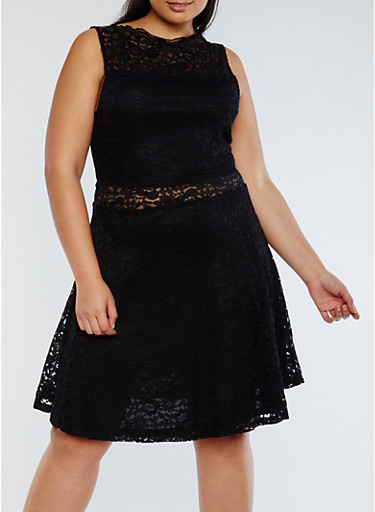 Plus Size Lace Skater Dress,BLACK,large