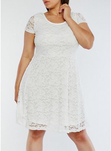 Plus Size Lace Short Sleeve Skater Dress,WHITE,large