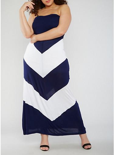 Plus Size Strapless Chevron Color Block Maxi Dress,NAVY/WHITE,large