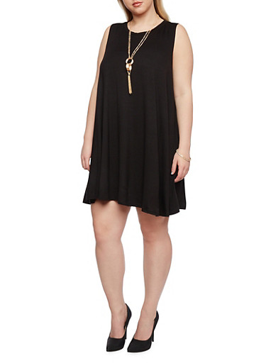 Plus Size Sleeveless Swing Dress with Necklace,BLACK,large