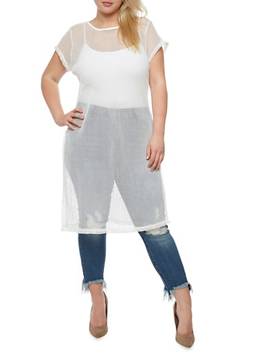 Plus Size Mesh T Shirt Dress with Side Slits,WHITE,large