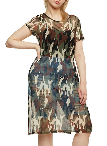 Plus Size Sheer Camouflage Duster Dress,OLIVE,large