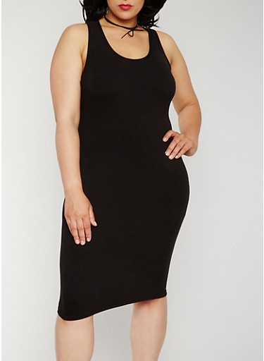 Plus Size Soft Knit Midi Tank Dress,BLACK,large
