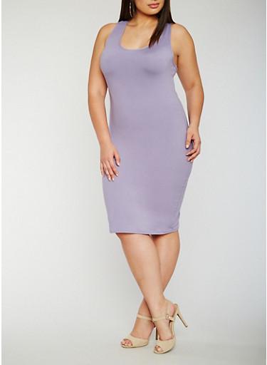 Plus Size Soft Knit Midi Tank Dress,DUSK,large