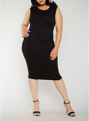 Plus Size Soft Knit Bodycon Dress,BLACK,large