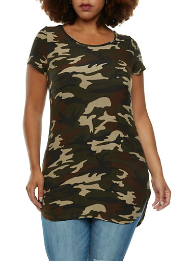 Plus Size High-Low Top with Camouflage Print,OLIVE,large