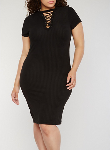 Plus Size Rib Knit Lace Up V Neck Bodycon Dress,BLACK,large