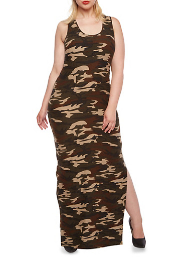 Plus Size Camo Maxi Dress with Side Slits,OLIVE,large