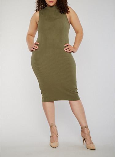Plus Size Rib Knit Sleeveless Bodycon Dress,OLIVE,large