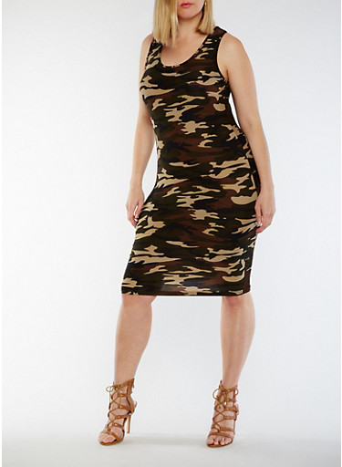 Plus Size Camo Print Racerback Tank Dress,CAMOUFLAGE,large