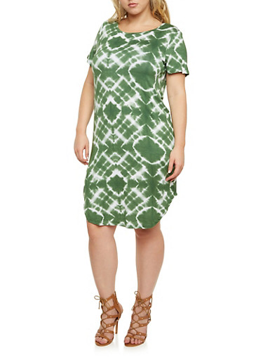 Plus Size Shift Dress in Tie Dye Print,OLIVE,large