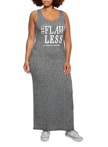 Plus Size Graphic Marled Knit Maxi Dress with Flawless Print,BLACK,large