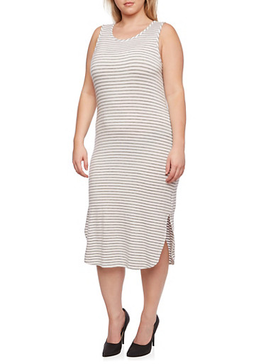Plus Size Striped Dress with Scoop Neck and Side Slit,HEATHER,large