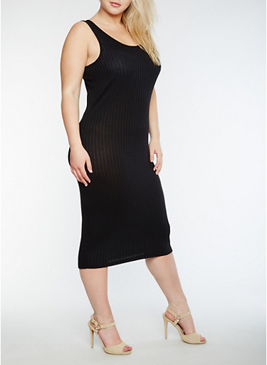 Plus Size Solid Rib Knit Tank Dress,BLACK,large