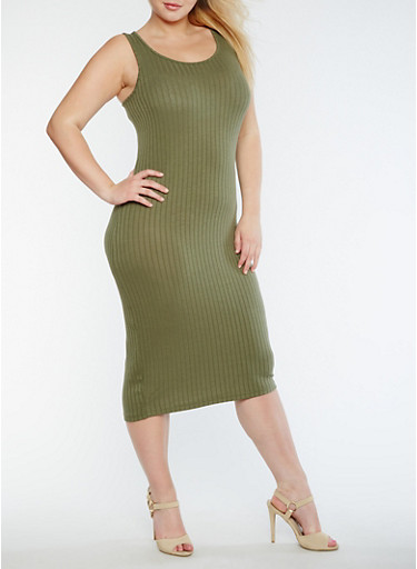 Plus Size Solid Rib Knit Tank Dress,OLIVE,large