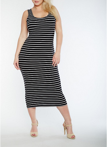 Plus Size Striped Tank Dress,BLACK/WHITE,large