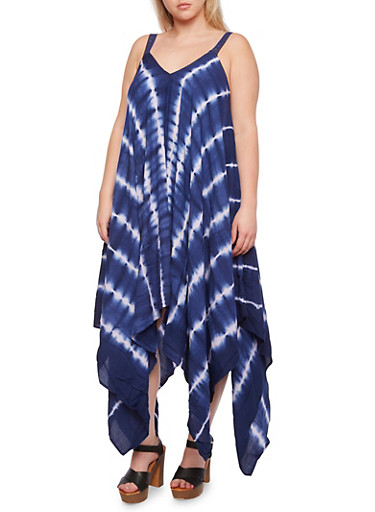 Plus Size Tie Dye Dress with Sharkbite Hem,NAVY/WHITE,large
