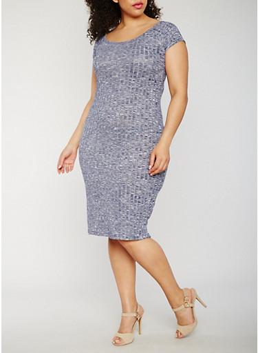 Plus Size Marled Scoop Neck Midi Dress,NAVY,large