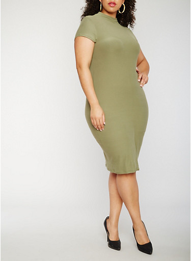 Plus Size Short Sleeve Funnel Neck Midi Dress,OLIVE,large