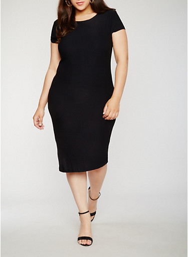 Plus Size Soft Knit Bodycon Dress with Caged Back,BLACK,large