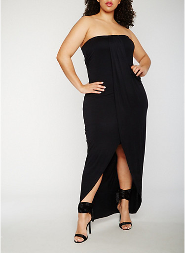 Plus Size Strapless Overlay Maxi Dress,BLACK,large