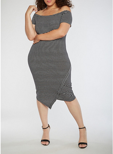 Plus Size Striped Off the Shoulder Dress,BLACK/WHITE,large