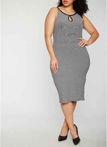 Plus Size Striped Midi Tank Dress,BLACK/WHITE,large