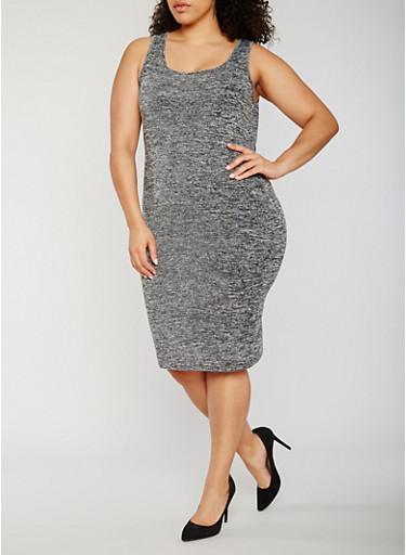 Plus Size Marled Tank Dress,BLACK,large
