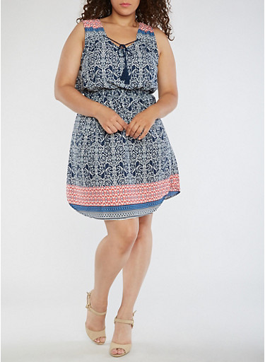 Plus Size Sleeveless Boarder Print Dress,CORAL/NAVY,large