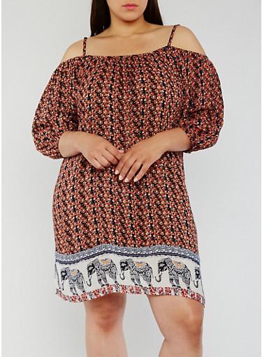 Plus Size Off the Shoulder Elephant Border Print Dress,RUST,large